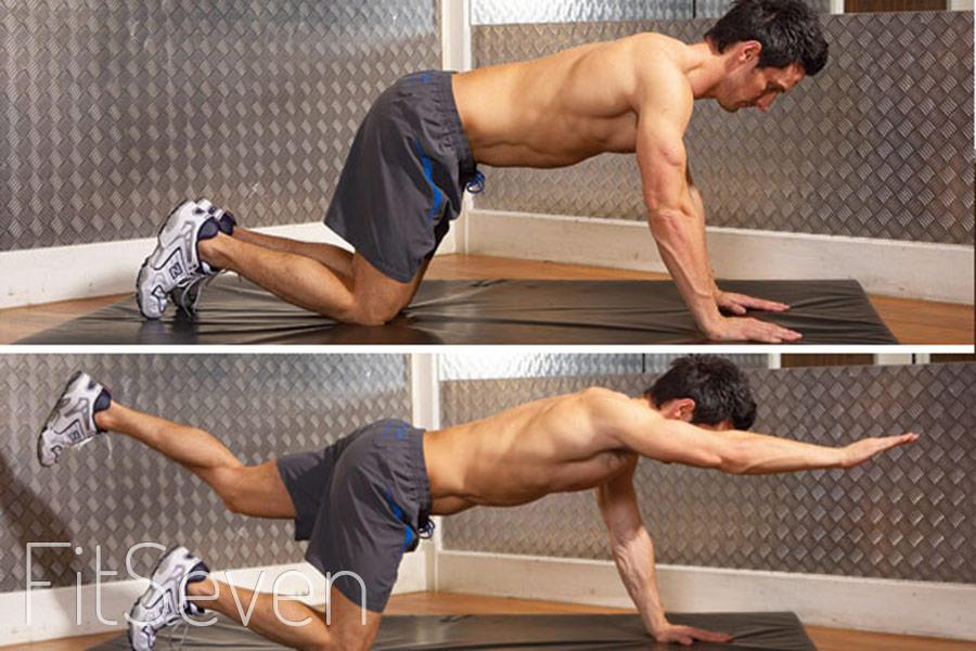 Упражнения на нижний пресс - Вытягивания руки вперед