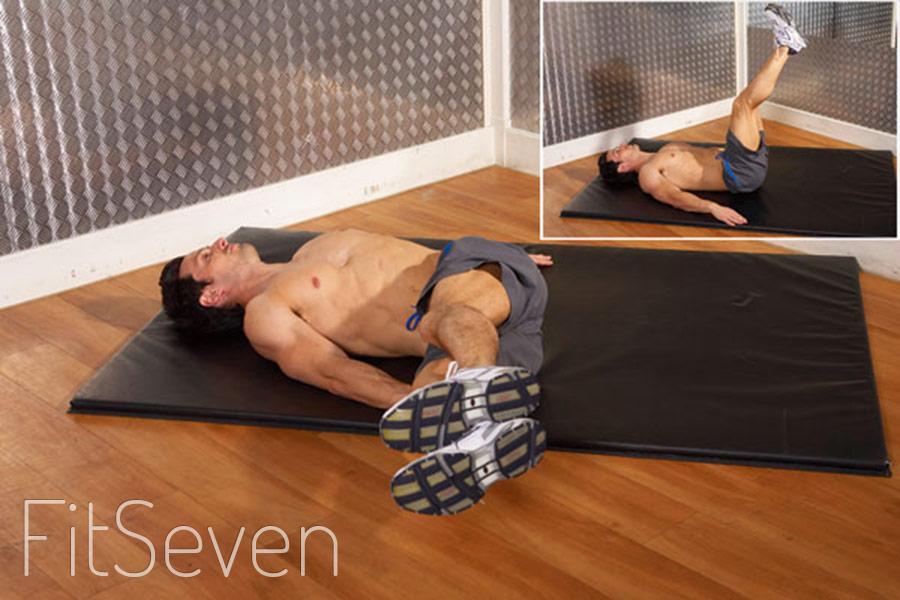 Упражнения на нижний пресс - повороты ног лежа