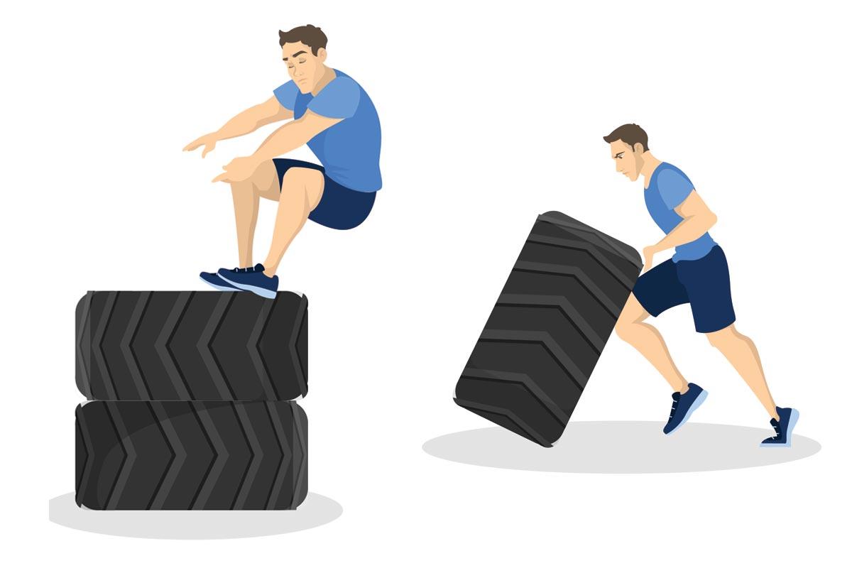 Упражнения с покрышками