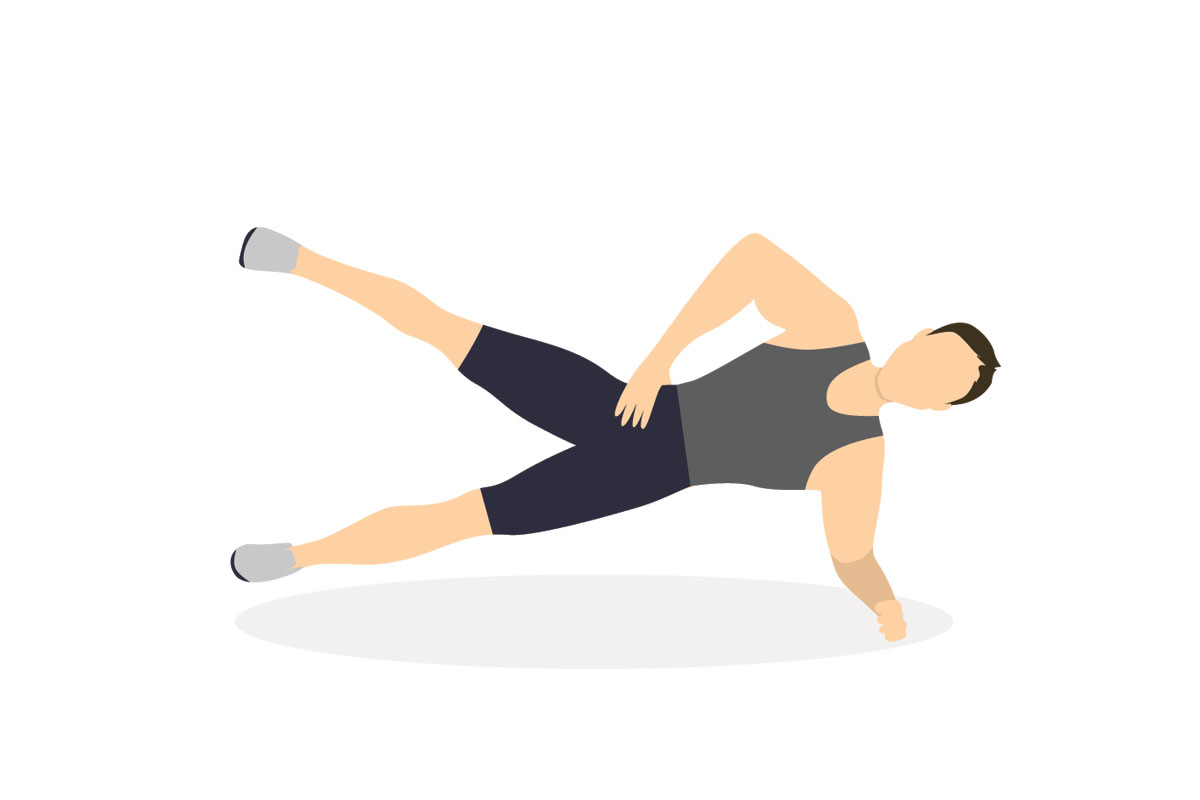 Боковая планка с подъемом ноги
