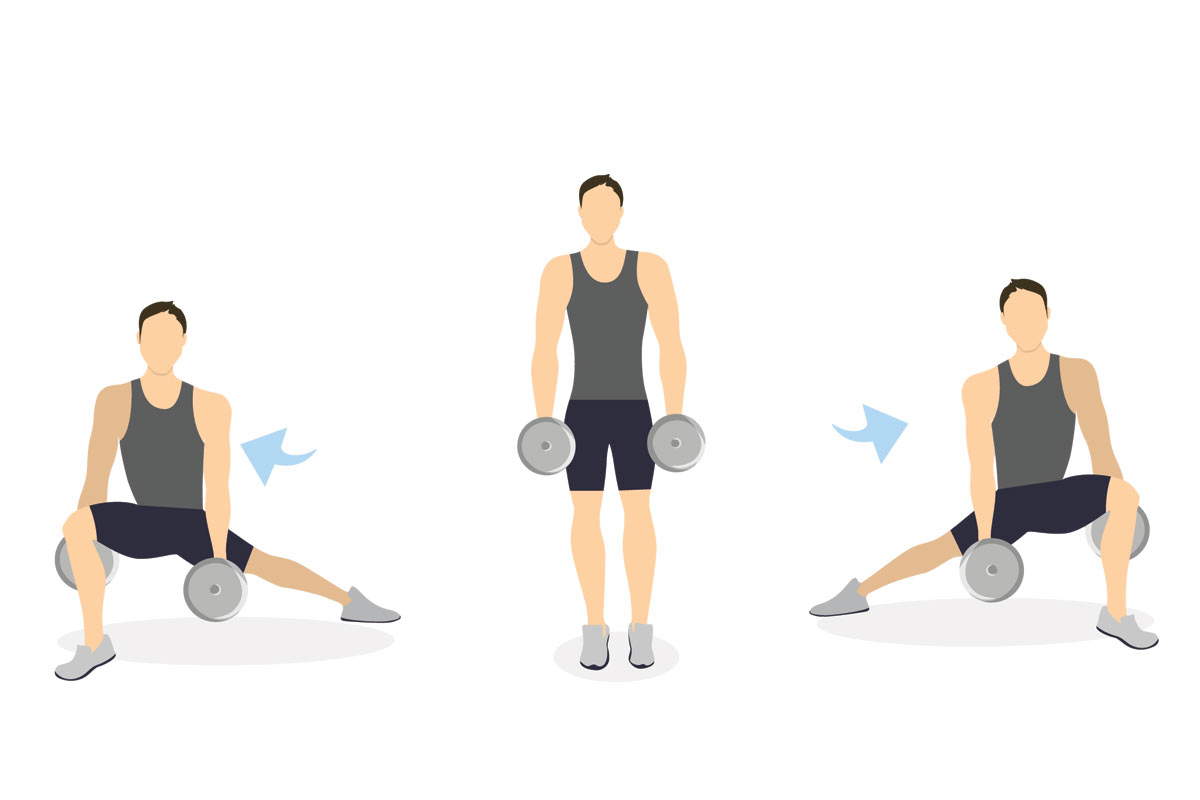 Side Dumbbell Lunges