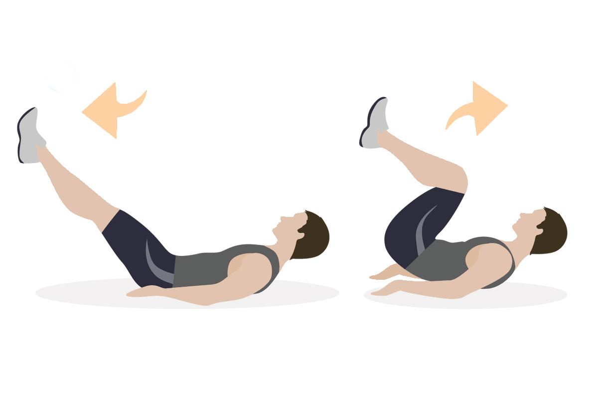 Упражнения для мышц живота — обратные скручивания