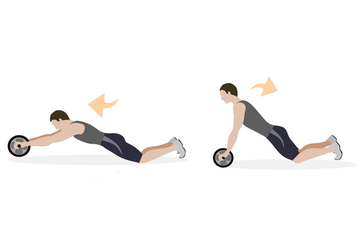 Упражнения для мышц живота — скручивания с роликом