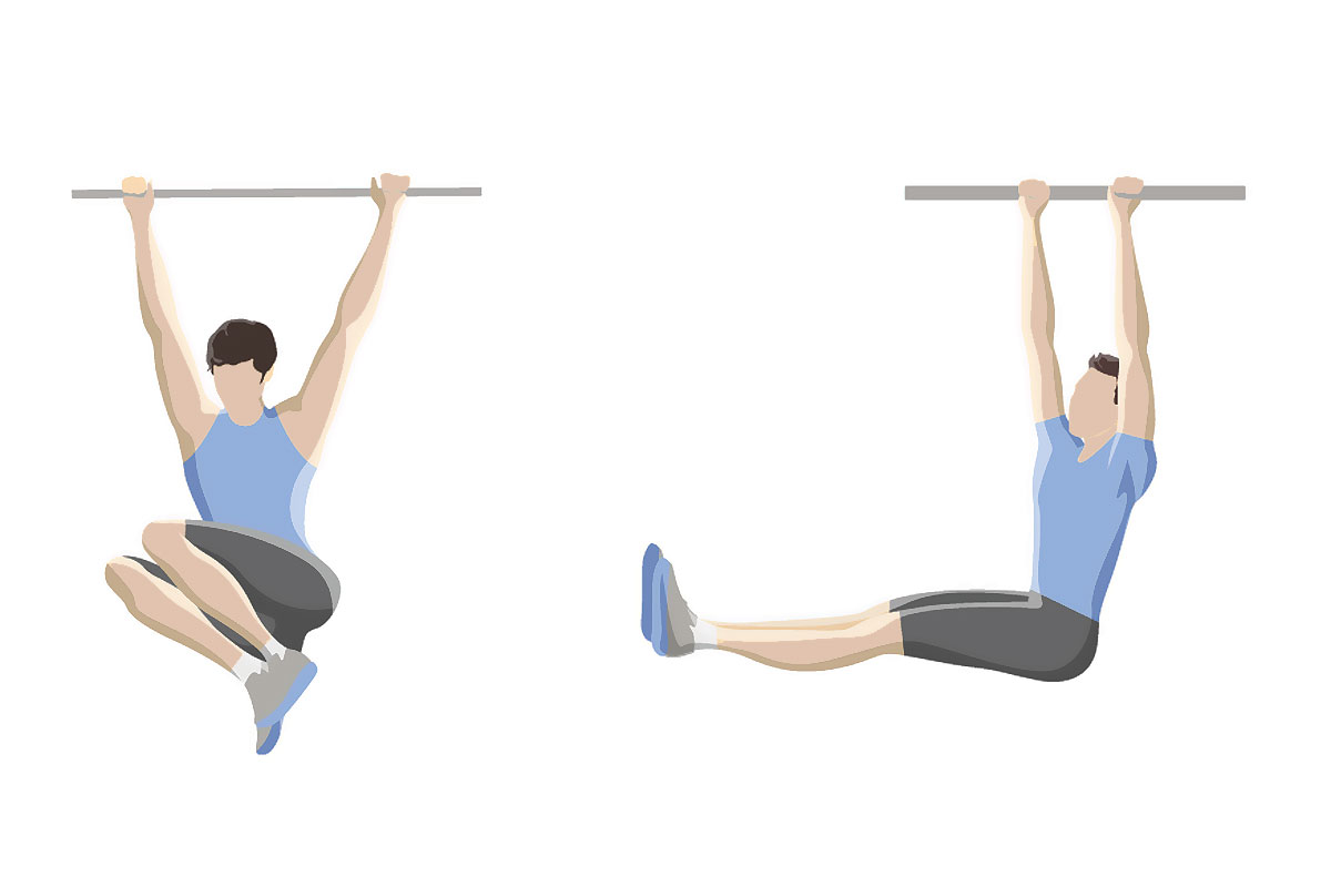 Упражнения для мышц живота — подъем ног в висе