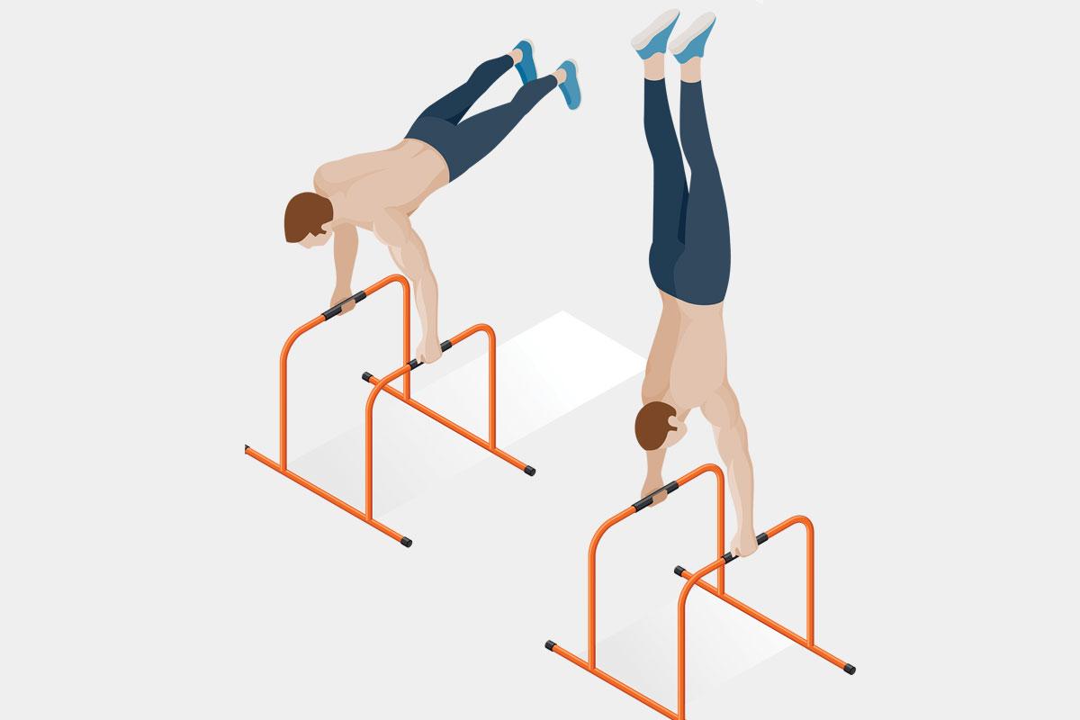Упражнения на спину на улице —стойка на брусьях