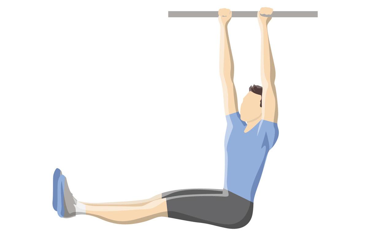 Упражнения на пресс —подъемы ног в висе