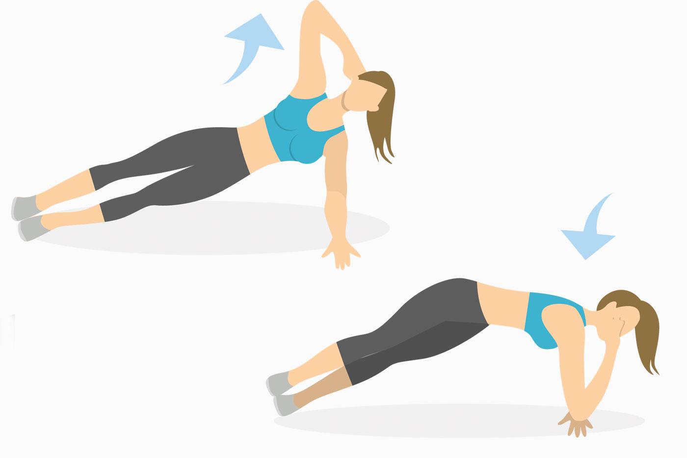 Упражнения на руки —боковая планка со скручиванием