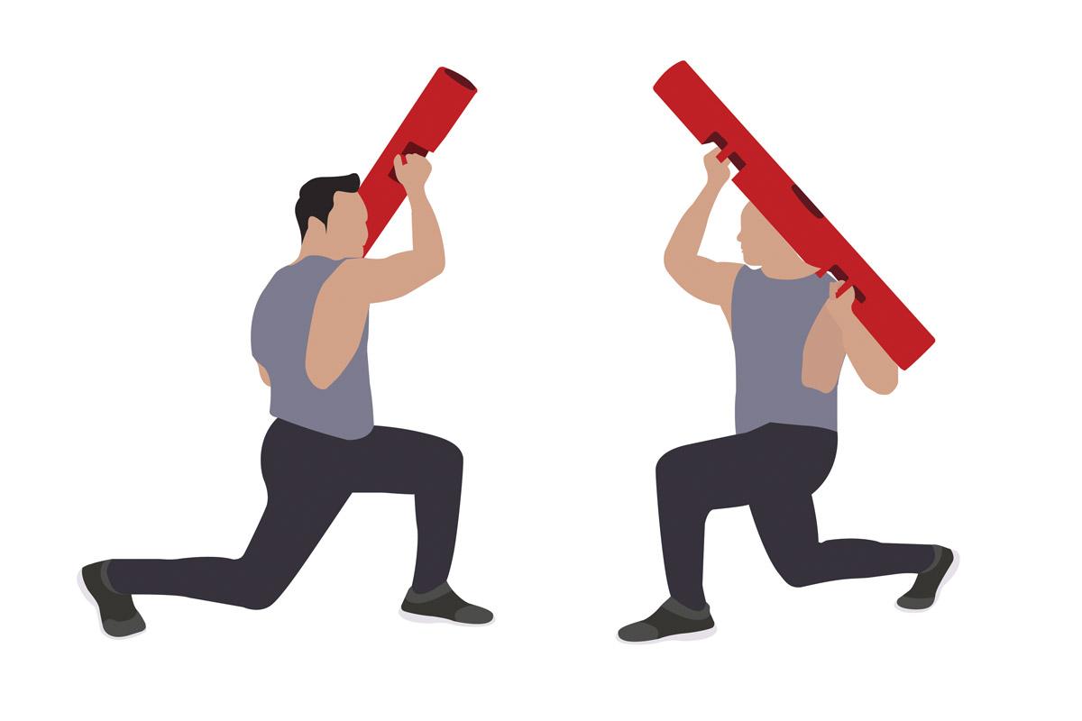 Упражнения с бодибаром —выпады
