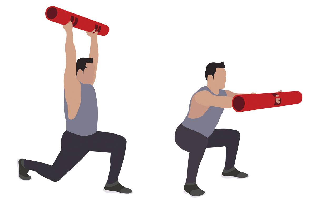 Упражнения с бодибаром —присед с выбрасыванием