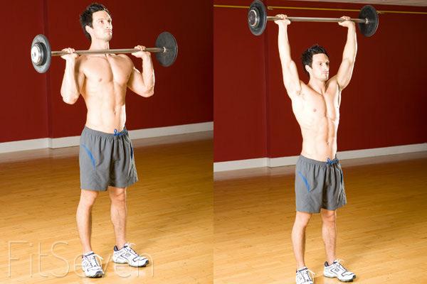 Упражнения на плечи —жим штанги стоя