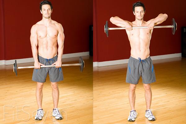 Упражнения для плеч: тяга штанги к подбородку