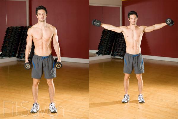 Упражнения для плеч: разведения гантелей в стороны